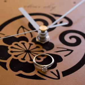 天然牛革の壁掛け時計-MonClock(Drop)1紋入