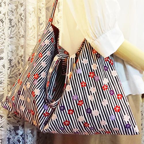 【送料無料】2way和柄トートバッグ【桜01】 あずま袋風三角バッグ/外国の方へプレゼントにも