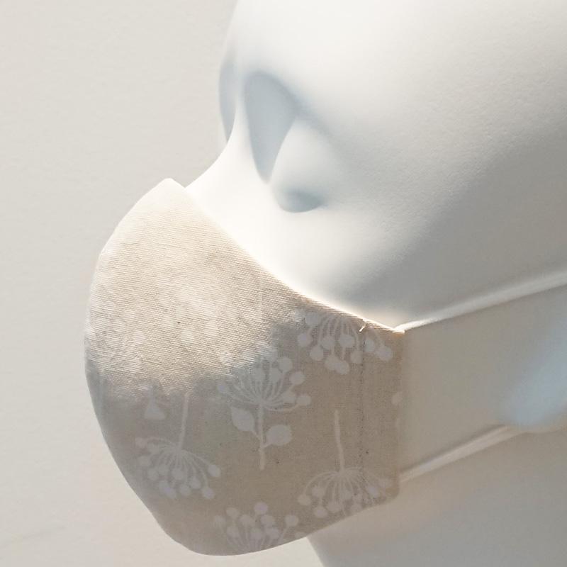 ★抗菌防臭★大人スリムサイズ★かっちり立体マスク・布マスク/植物柄 選べる2色 【ネコポス送料330円対象商品】