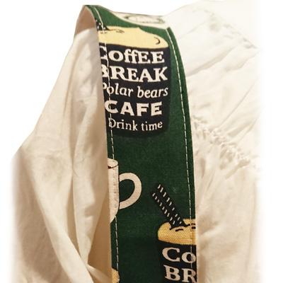 【送料無料】2wayトートバッグ/サブバッグ【コーヒーと白くまのカフェ柄01 深緑色】Lsize