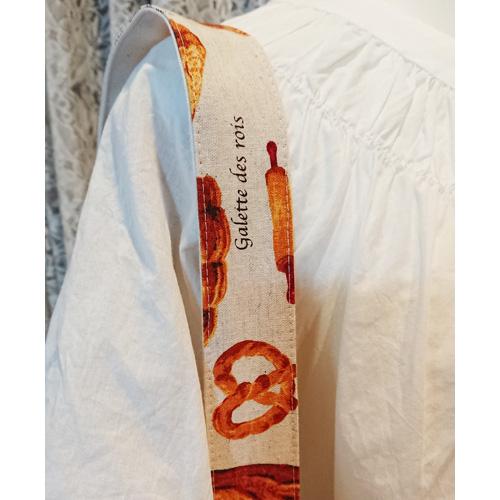 【送料無料】2wayトートバッグ/サブバッグ【パン柄01 ベージュ×茶系】 綿麻の風合い Lsize