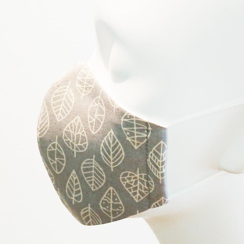 ★抗菌防臭★大人ゆったりサイズ★かっちり立体マスク・布マスク/リーフリーフ柄 選べる3色 【ネコポス送料330円対象商品】