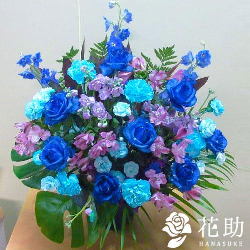 【青バラ入り】お祝いアレンジメント花 14000円