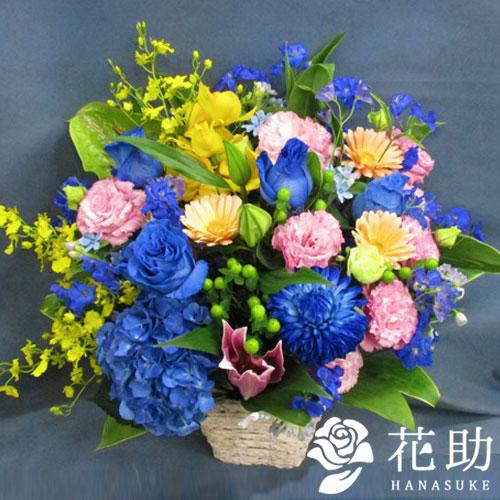 【青バラ入り】お祝いアレンジメント花 13000円