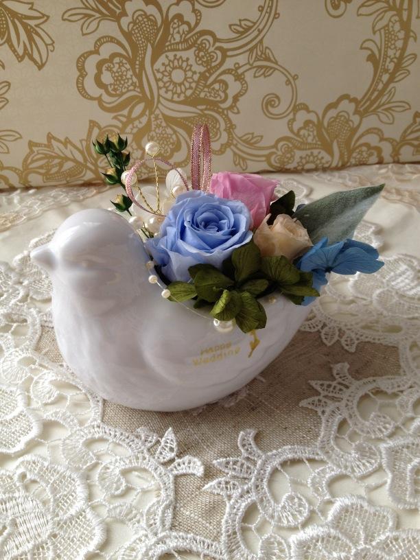 プリザーブドフラワーギフト ハトの陶器ver
