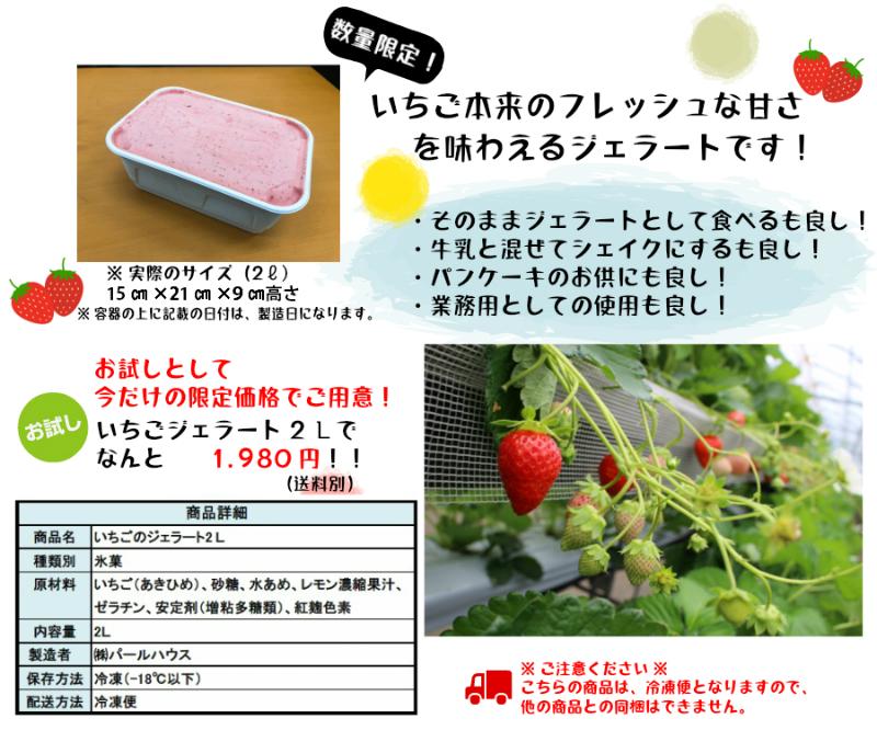 【てしまのイチゴ】 いちごのジェラート 2L あきひめ イチゴ