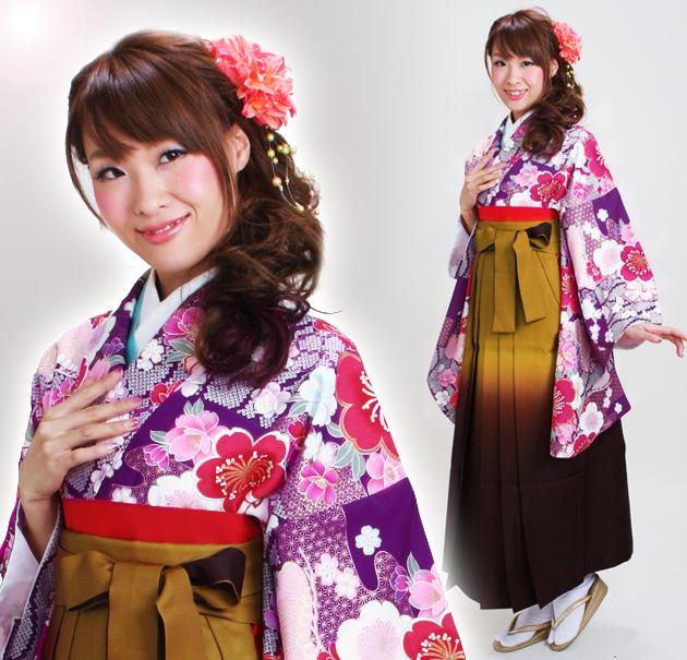 卒業式 袴 レンタル 紫色 桜 市松 チェック 身長〜173cm,7号〜13号 NT-296