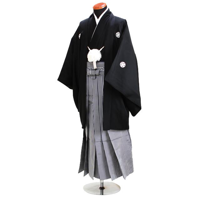 ジュニア 黒紋付袴レンタル【大】〔150-155cm前後対応〕