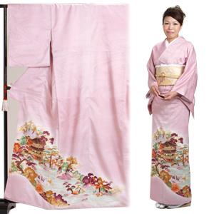 色留袖 レンタル 袷 10月〜5月 ピンク色・山水 留袖 レンタル irotomesode11