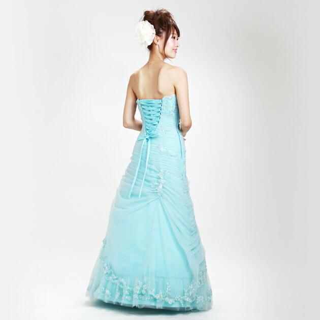 二次会ドレス レンタル 5号-9号 Aライン ブルー 結婚式の2次会に 8202