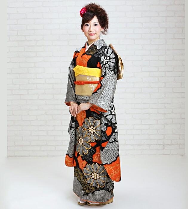 振袖 レンタル,〜160cm 黒朱しぼり/黒朱総絞り大輪花 結婚式 成人式 結納 NT-69