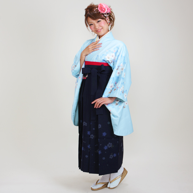 卒業式 袴 レンタル ブルー色 桜重ね 身長〜173cm,7号〜13号 NT-272
