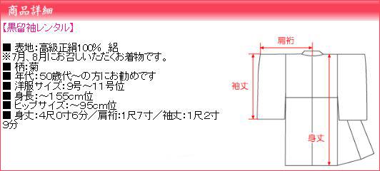 留袖 レンタル・【絽】(7月/8月向け着物)黒留袖 フルセット NT-66
