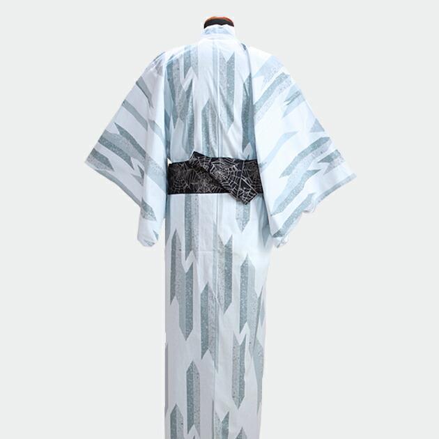 【浴衣 メンズ レンタル】ゆかたレンタル 3点セット☆浴衣・帯・下駄☆nt-my109 グレー/矢柄