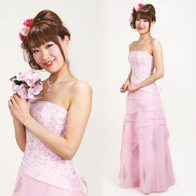 二次会ドレス レンタル 5号-9号 スレンダーAライン ピンク 結婚式の2次会に 8206