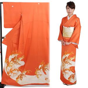 色留袖 レンタル 袷 10月〜5月 オレンジ色・波柄 留袖 レンタル irotomesode12