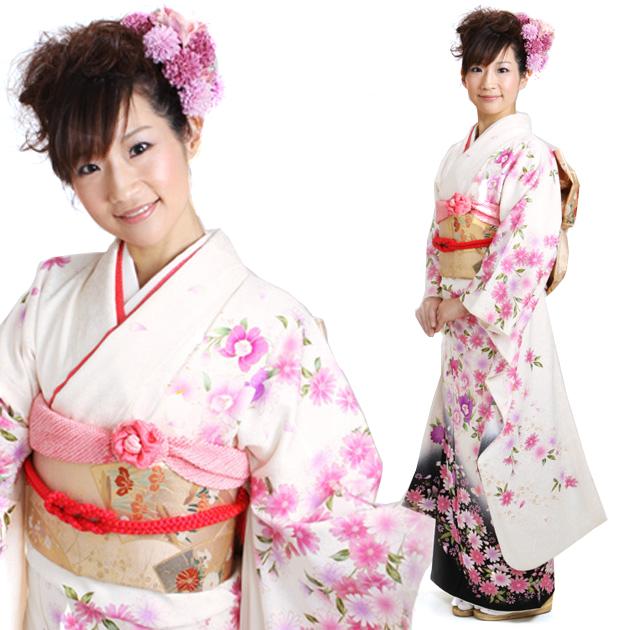振袖 レンタル,〜168cm 白・黒/四季花に蝶 結婚式 成人式 結納 NT-300