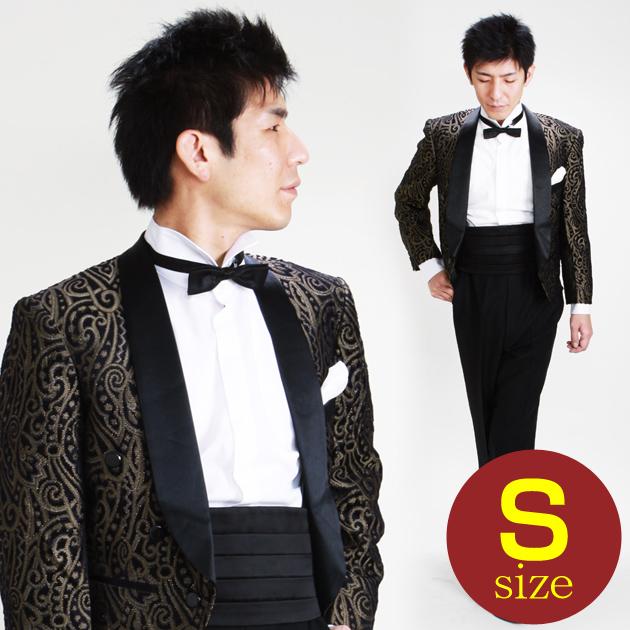 【スペンサー タキシード レンタル】XS・Sサイズ/〜168cm/黒・ゴールド ペイズリー 52345