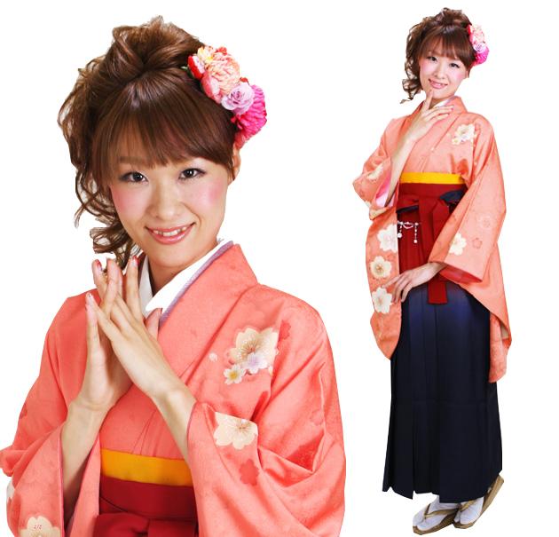 卒業式 袴 レンタル オレンジ色 ピース桜 身長〜170cm,7号〜13号 NT-277