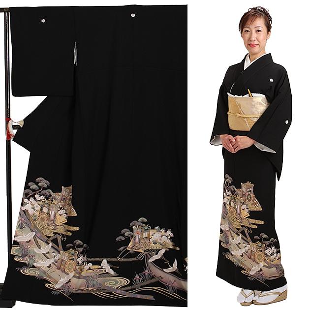 黒留袖 レンタル [標準サイズ:150cm〜164cm] 留袖 レンタル 着物 留め袖 NT-931