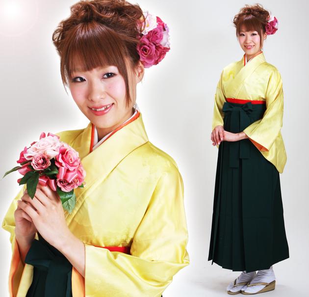 卒業式 袴 レンタル 黄色 無地 身長〜160cm,7号〜13号 NT-muji13
