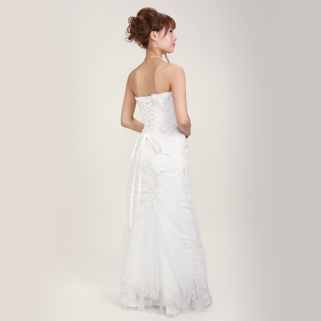 二次会ドレス レンタル 5号-9号 Aライン ホワイト 結婚式の2次会に 8204