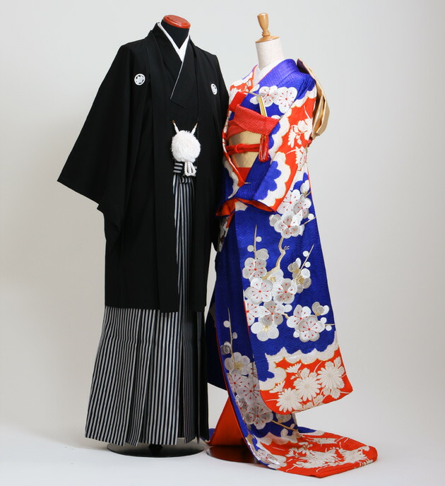 引き振袖レンタル 青色/菊梅 NT-30