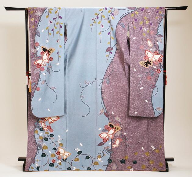 振袖 レンタル,〜168cm 水色・紫/桜に蝶・鶴 結婚式 成人式 結納 NT-170