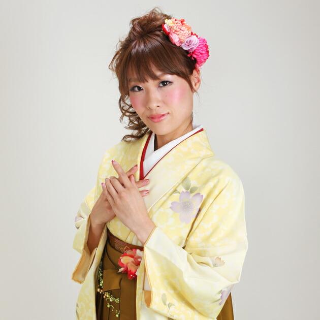 卒業式 袴 レンタル 黄色 黄段桜 身長〜170cm,7号〜13号 NT-279