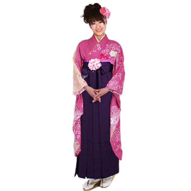 卒業式 袴 レンタル【中振袖+袴】 ピンク 桜熨斗 身長〜168cm,7号〜13号 NT-F223