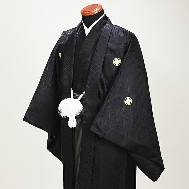ジュニア 黒紋付袴レンタル 薄茶【中】1-A,2-A〔149-154cm対応〕