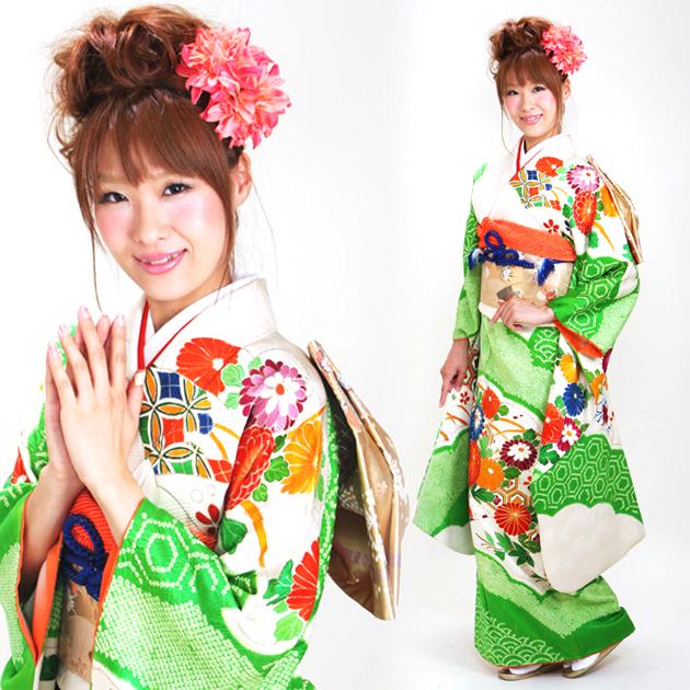 振袖 レンタル,〜165cm 白緑色/しぼり菊 結婚式 成人式 結納 NT-64