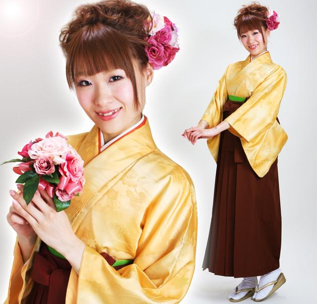 卒業式 袴 レンタル やまぶき色 無地 身長〜160cm,7号〜13号 NT-muji14