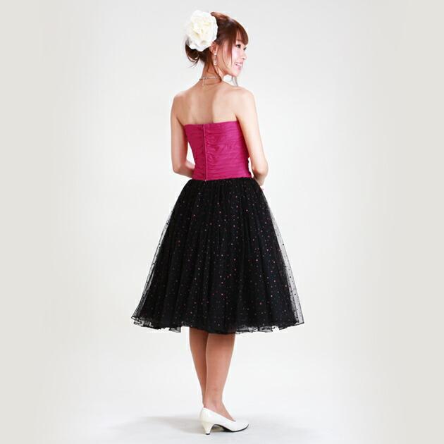 二次会ドレス レンタル 7号-9号 ビスチェ チェリーピンク&黒 結婚式の2次会に 8106