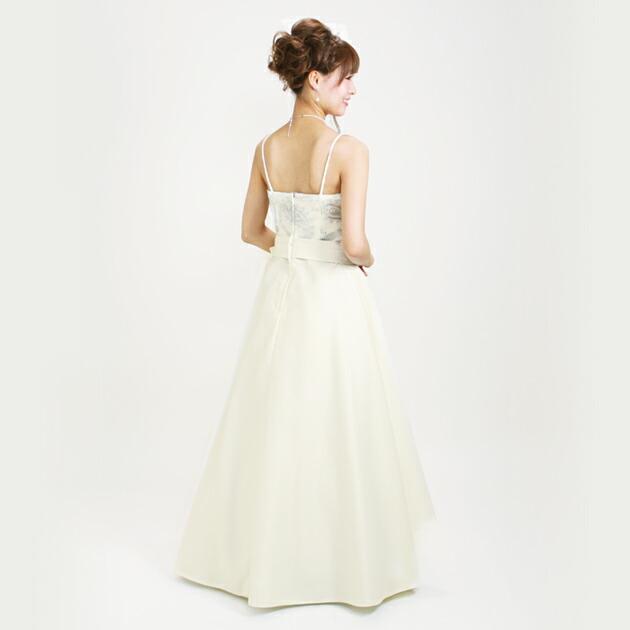 二次会ドレス レンタル 7号-9号 Aライン オフホワイト 結婚式の2次会に 8213
