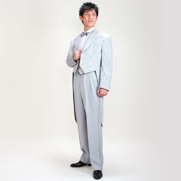タキシード レンタル 【ブルーグレーエンビ レンタル】新郎 結婚式 nt007