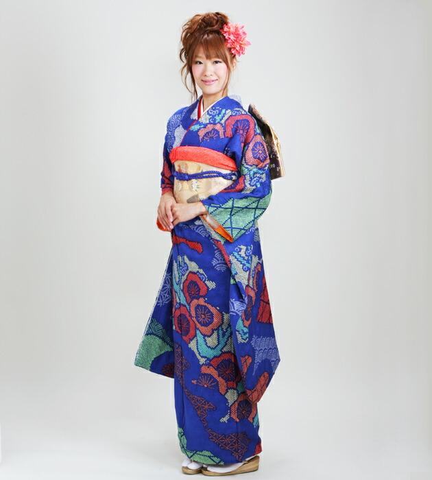 振袖 レンタル,〜163cm 青オレンジ色/しぼり 結婚式 成人式 結納 NT-73