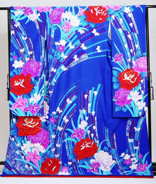 引き振袖レンタル 青色/ぼたんに蝶 NT-81