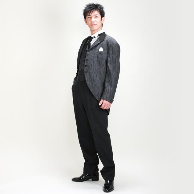 タキシード レンタル 【グレーショートモーニング レンタル】新郎 結婚式 nt015