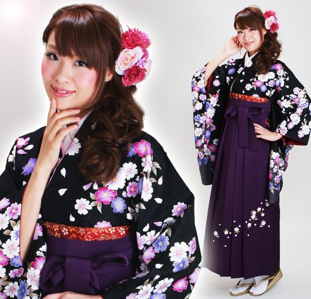 卒業式 袴 レンタル 黒色 ローズピンク コスモス 刺繍はかま 身長〜170cm,7号〜13号 NT-292