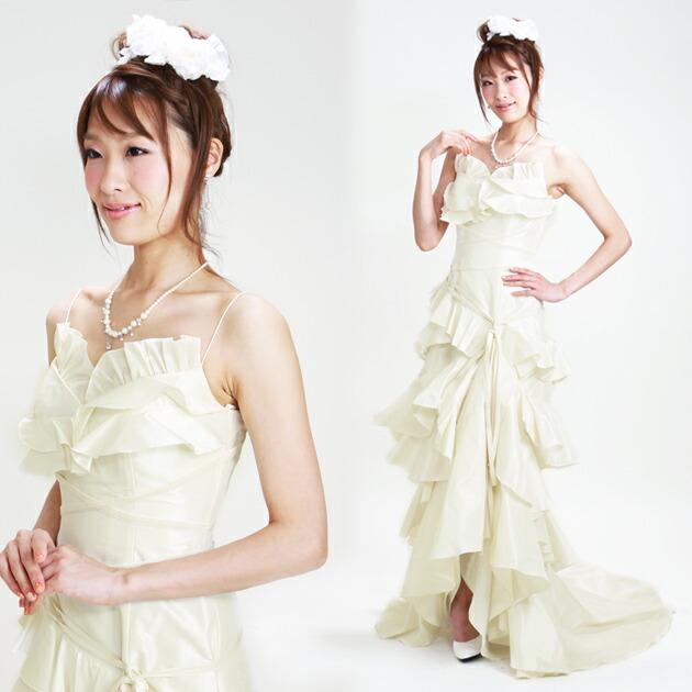 二次会ドレス レンタル 7号-9号 Aライン オフホワイト 結婚式の2次会に 8219