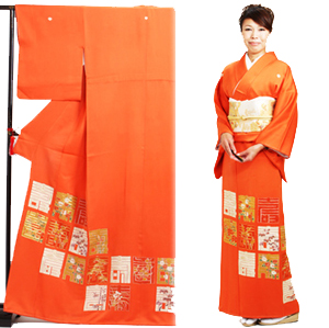 色留袖 レンタル 袷 10月〜5月 オレンジ色・寿 留袖 レンタル irotomesode20