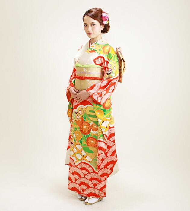 振袖 レンタル,〜165cm 朱赤色/しぼり 結婚式 成人式 結納 NT-65