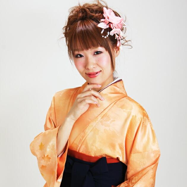 卒業式 袴 レンタル オレンジ色 無地 身長〜158cm,7号〜13号 NT-muji15