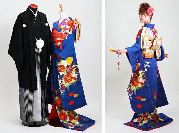 引き振袖レンタル 青色/菊 NT-83