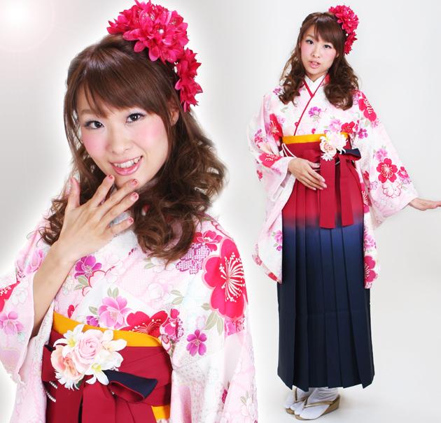 卒業式 袴 レンタル 白色 桜 身長〜170cm,7号〜13号 NT-297