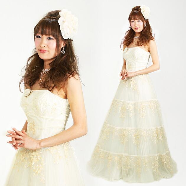 二次会ドレス レンタル 9号-13号 プリンセスライン オフホワイト 結婚式の2次会に 8223