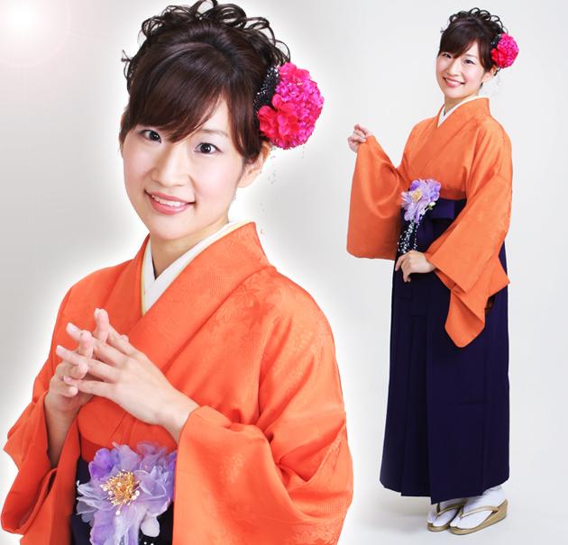 卒業式 袴 レンタル オレンジ色 無地 身長〜158cm,7号〜13号 NT-muji21