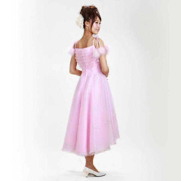 二次会ドレス レンタル 9号 Aライン ピンク 結婚式の2次会に 8114