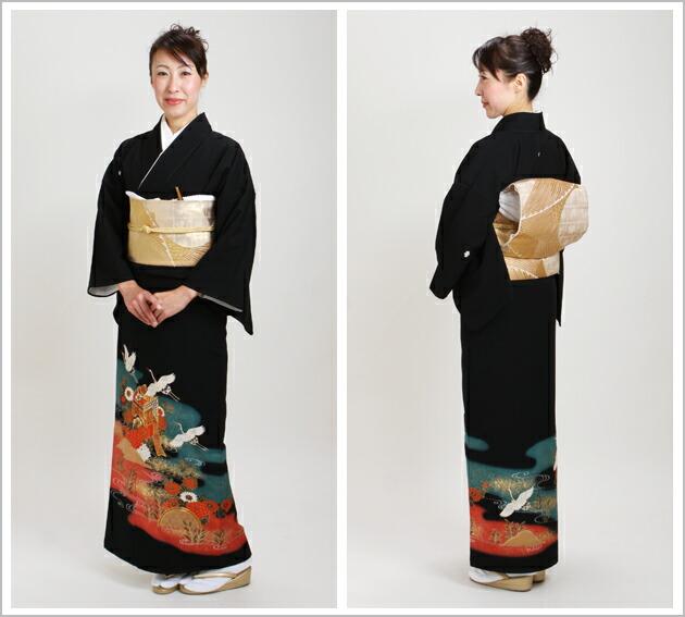 黒留袖 レンタル [広幅:13〜17号]留袖 レンタル 着物 留め袖 NT-LL752